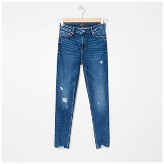 House - Jeansy skinny z postrzępioną nogawką - Granatowy