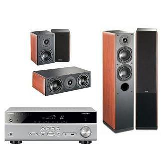 Yamaha MusicCast RX-V485 (tytanowy), Indiana Line Nota 550 X/240 X/740 X (orzech)