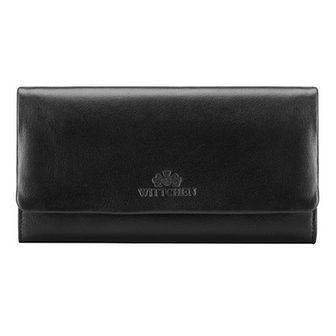 Damski portfel ze skóry podłużny z tłoczonym logo