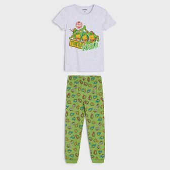 Sinsay - Piżama dwuczęściowa Wojownicze Żółwie Ninja - Jasny szary