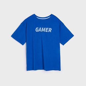 Sinsay - Koszulka z napisem - Niebieski