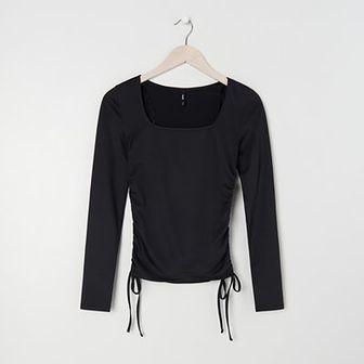 Sinsay - Crop top ze ściągaczami - Czarny