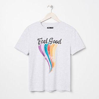 Sinsay - Koszulka z nadrukiem - Jasny szary