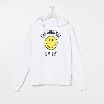 Sinsay - Bawełniana bluza z nadrukiem Smiley® - Biały