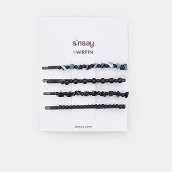 Sinsay - Spinki do włosów 4 pack - Czarny