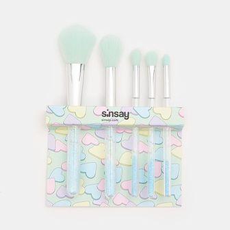 Sinsay - Pędzle do makijażu 5 pack - Turkusowy