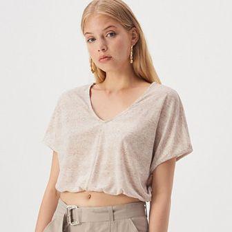Sinsay - Kimonowa bluzka z dekoltem V - Kremowy