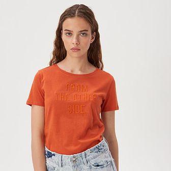 Sinsay - Koszulka z wyhaftowanym napisem - Pomarańczowy