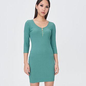 Sinsay - Bawełniana sukienka z zamkiem - Turkusowy
