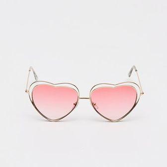 Sinsay - Okulary przeciwsłoneczne w kształcie serca - Różowy