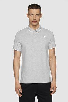 T-shirt męski TSM024 - chłodny jasny szary melanż
