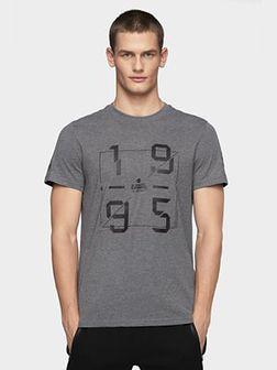 T-shirt męski TSM073 - średni szary melanż