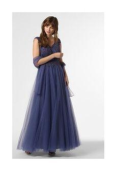 Mascara - Damska sukienka wieczorowa z etolą, niebieski