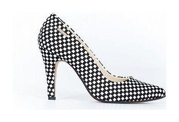 eleganckie szpilki w szachownicę - skóra naturalna - model 035 - kolor czarna szachownica