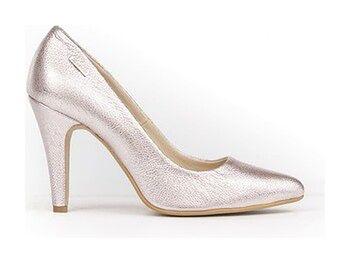 eleganckie czółenka na szpilce - skóra naturalna - model 035 - kolor srebrny róż