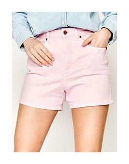 Wrangler Szorty jeansowe Mom W22DMHP10 Różowy Regular Fit