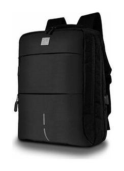 """Praktyczny plecak na laptopa do 15.6"""" 15.6 cali cala czarny USB wygodny miejski sportowy do pracy ochrona MacBook męski James Hawk Smart Backpack"""