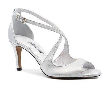 Srebrne skórzane szpilki sandały ze skrzyżowanymi paseczkami Y114E