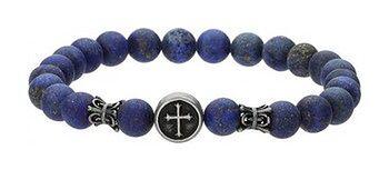 Niebieska bransoletka męska z kamieni naturalnych, krzyżyk