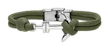 Zielona bransoletka męska sznurkowa z kotwicą