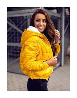 Żółta dwustronna pikowana kurtka damska zimowa z kapturem Denley B9553
