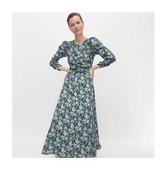 Reserved - Wzorzysta sukienka z bufiastymi rękawami - Wielobarwny