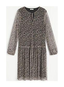 Reserved - Wzorzysta sukienka mini - Kremowy