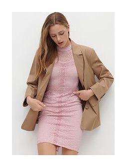 Reserved - Koronkowa sukienka mini - Różowy