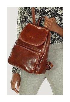GIGI MARCO MAZZINI Elegancki plecak z kieszenią skóra naturalna leather brązowy