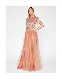 Elisabetta Franchi Sukienka wieczorowa AB-104-07E2-V799 Różowy Slim Fit
