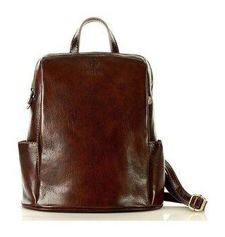 MARCO MAZZINI Elegancki plecak skórzany italiano tompanato brąz marrone