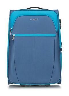 Średnia miękka walizka dwukolorowa