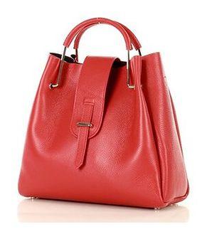 MARCO MAZZINI Torebka skórzana designerski kuferek handbag czerwony roiboos