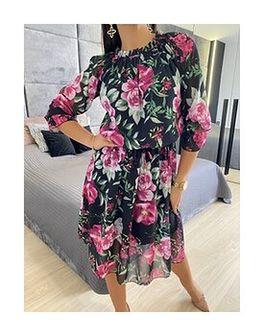 Czarna Sukienka Hiszpanka w Kwiaty 5810-23