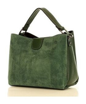 MARCO MAZZINI Elegancki kuferek skórzana listonoszka camera bag nubuk leather zielony