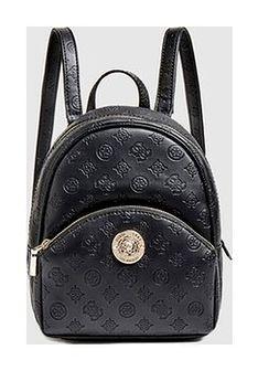 GUESS - czarny mały plecak damski z tłoczonym logo