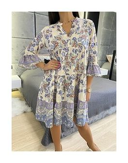 Beżowa Sukienka Oversize w Kolorowy Wzór 5893-106-A