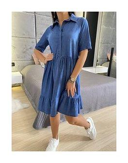 Jeansowa Granatowa Sukienka Oversize 6037-84-B