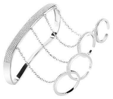 Bransoleta srebrna z cyrkoniami lewa na dłoń i palce