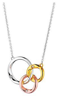 Naszyjnik  z białego,żółtego i różowego złota z diamentami