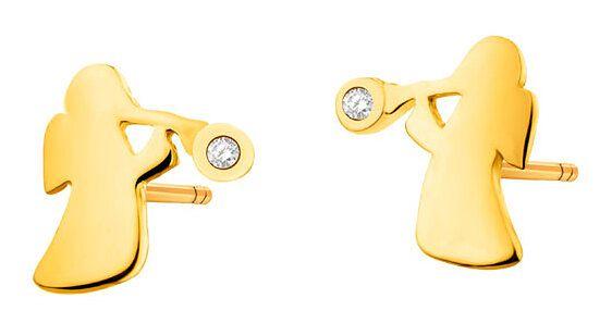Złote kolczyki z cyrkoniami - Aniołki