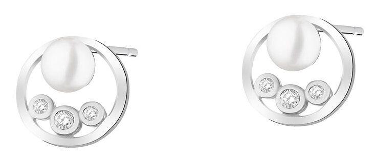 Kolczyki srebrne z perłami i cyrkoniami