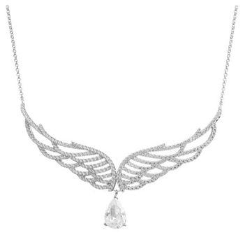Naszyjnik srebrny z cyrkoniami  - skrzydła
