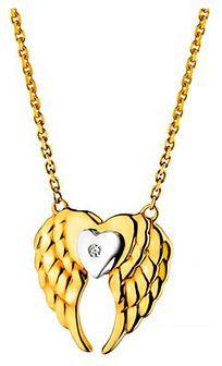 Naszyjnik z żółtego złota z diamentem - skrzydła, serce