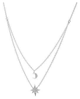 Naszyjnik srebrny z cyrkoniami - gwiazda, księżyc