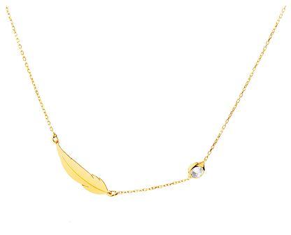 Złoty naszyjnik z piórkiem i cyrkonią