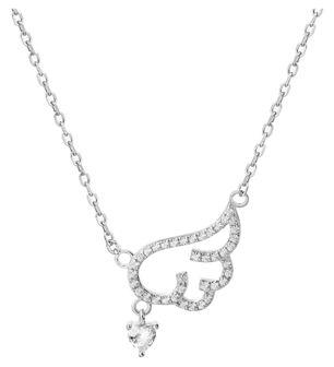 Naszyjnik srebrny z cyrkoniami - skrzydło