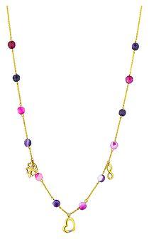 Naszyjnik z żółego złota z agatami i diamentem - serce, koniczyna, nieskończoność
