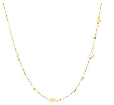 Złoty naszyjnik - Serce, Skrzydło, Nieskończoność