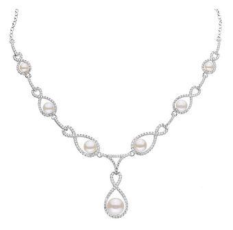Naszyjnik srebrny z perłami i cyrkoniami